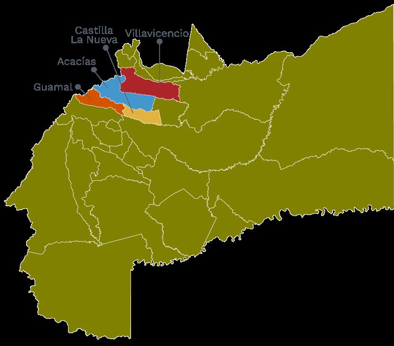 Mapa del Meta con municipios de la Red